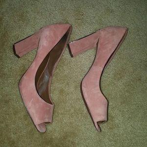 Tory Burch pale pink block heels